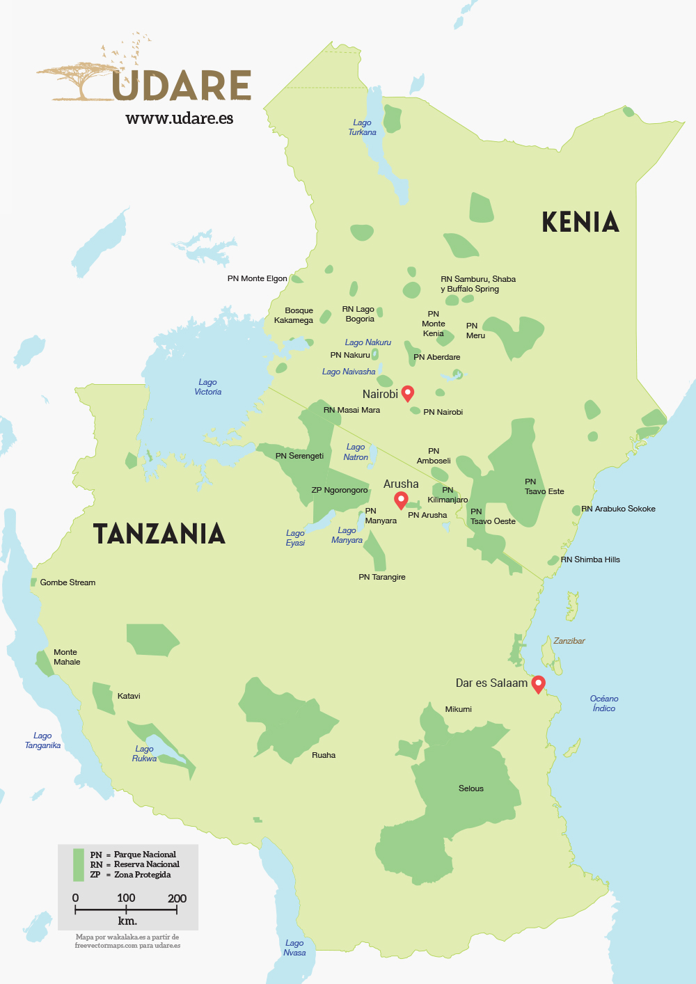 Kenya and Tanzania Map. By Udare